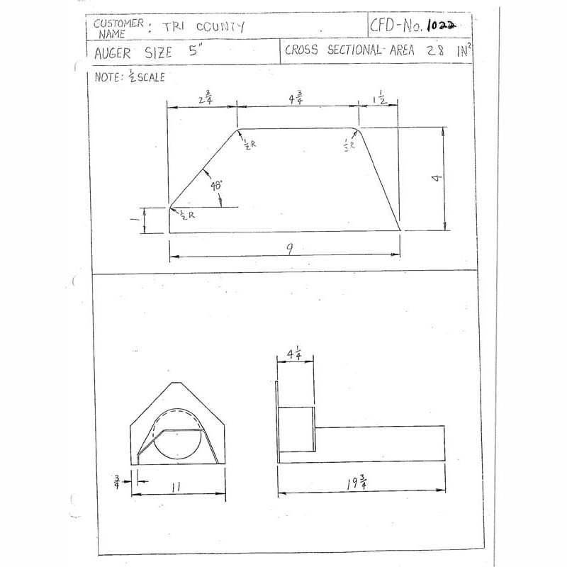 CFD-1022-5 Miller Curb Mold - 5in Auger Only