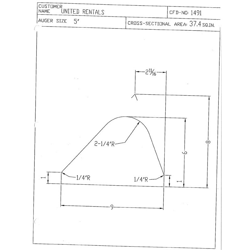 CFD-1491-5 Miller Curb Mold - 5in Auger Only