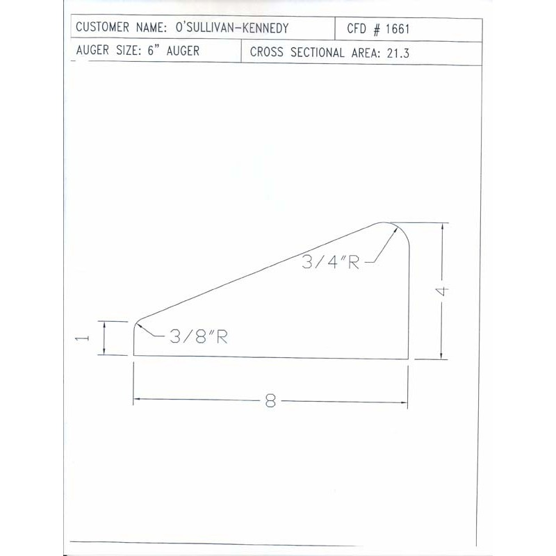 CFD-1661-5 Miller Curb Mold - 5in Auger Only