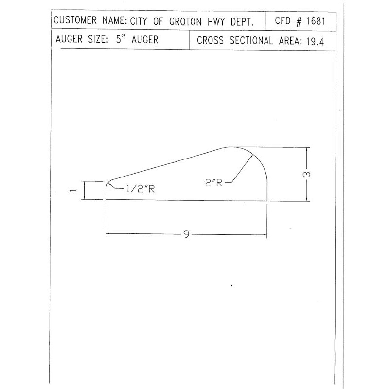 CFD-1681-5 Miller Curb Mold - 5in Auger Only