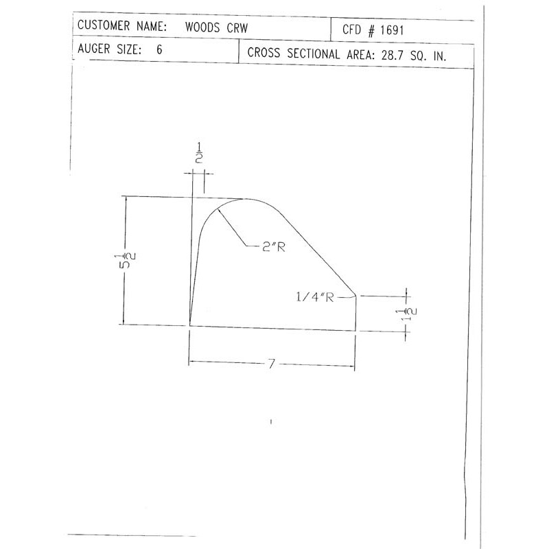 CFD-1691-5 Miller Curb Mold - 5in Auger Only