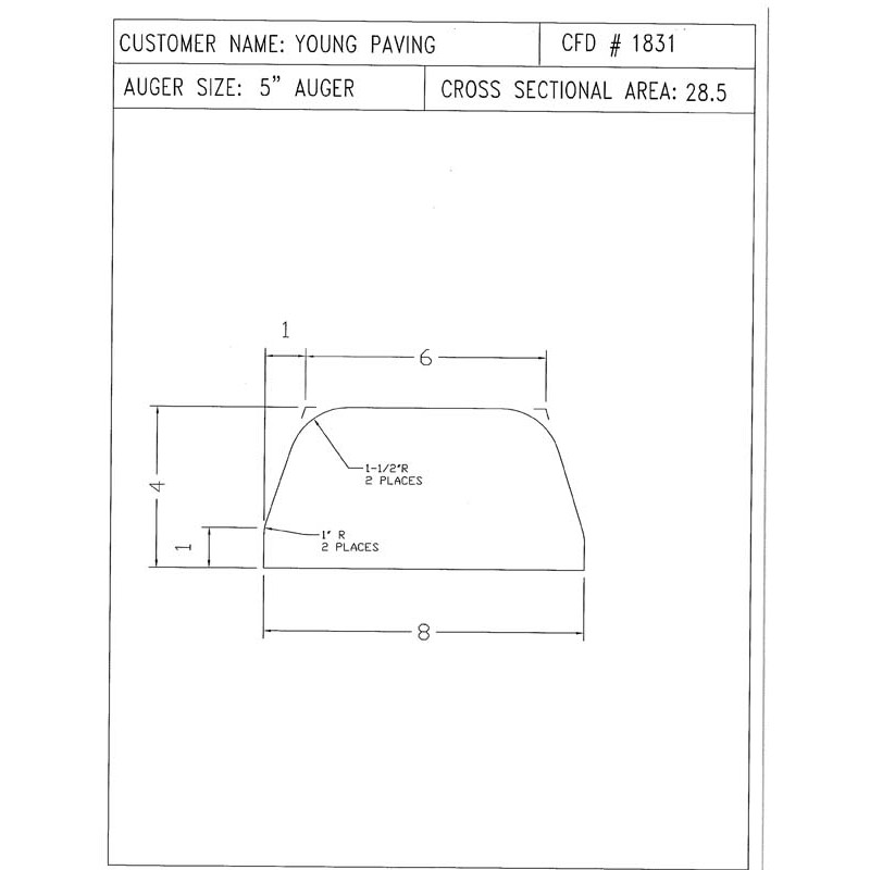 CFD-1831-5 Miller Curb Mold - 5in Auger Only