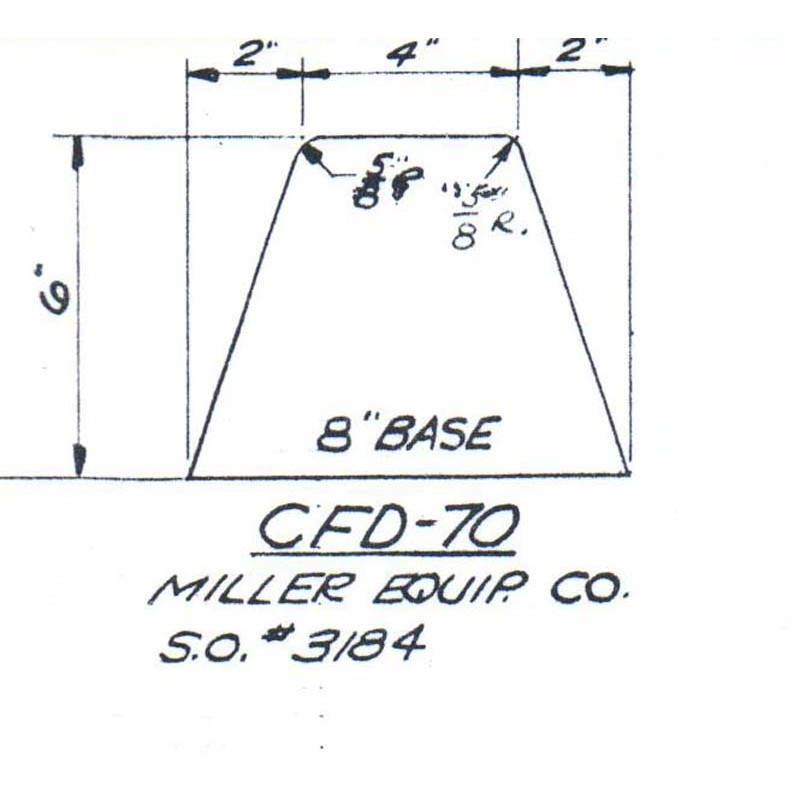 CFD-70-6 Miller Curb Mold - 6in Auger Only