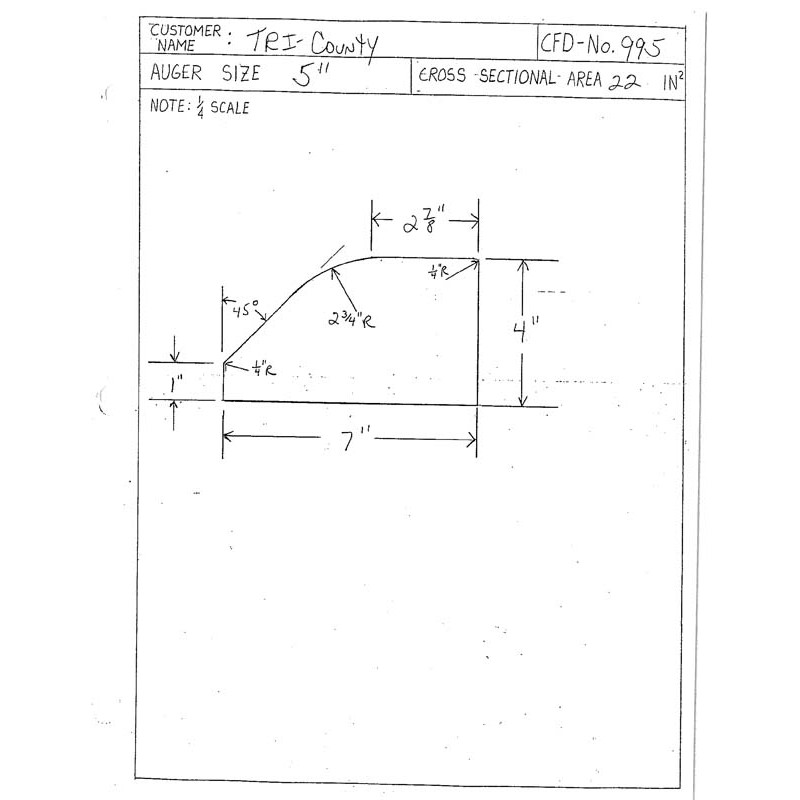 CFD-995-5 Miller Curb Mold - 5in Auger Only