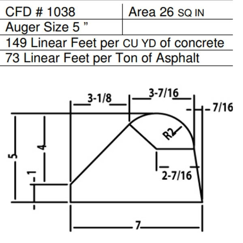 """CFD # 1038 Miller Curber Std Form for Curbers Equipped with w/5"""" Auger"""