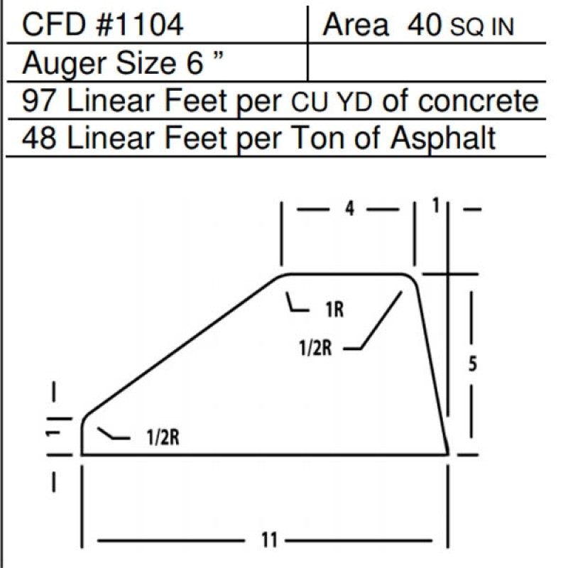 """CFD # 1104 Miller Curber Std Form for Curbers Equipped with w/6"""" Auger"""