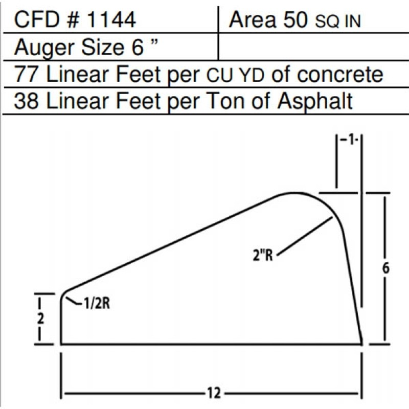 """CFD # 1144 Miller Curber Std Form for Curbers Equipped with w/6"""" Auger"""