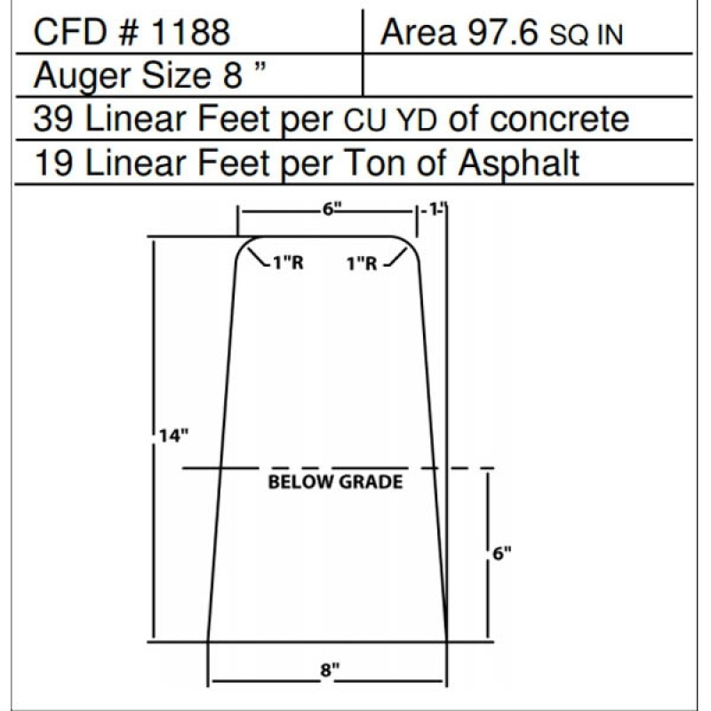 "CFD # 1188 Miller Curber Std Form for Curbers Equipped with w/8"" Auger"
