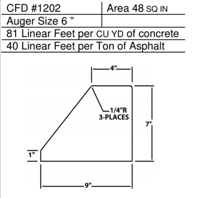 """CFD # 1202 Miller Curber Std Form for Curbers Equipped with w/6"""" Auger"""