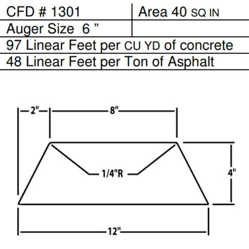 "CFD # 1301 Miller Curber Std Form for Curbers Equipped with w/6"" Auger"