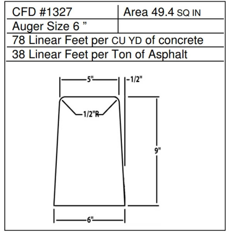 """CFD # 1327 Miller Curber Std Form for Curbers Equipped with w/6"""" Auger"""