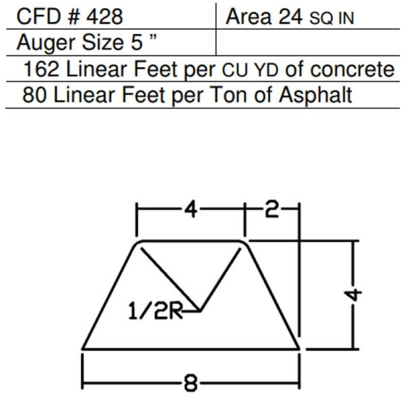 "CFD # 428 Miller Curber Std Form for Curbers Equipped with w/5"" Auger"