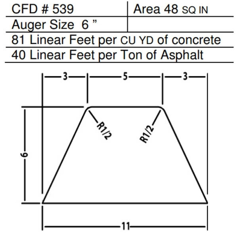 "CFD # 539 Miller Curber Std Form for Curbers Equipped with w/6"" Auger"