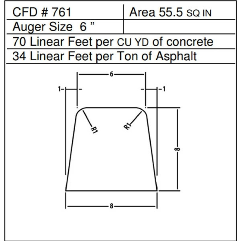 """CFD # 761 Miller Curber Std Form for Curbers Equipped with w/6"""" Auger"""