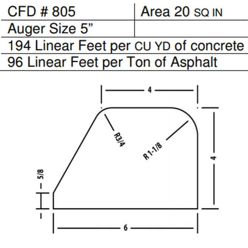 "CFD # 805 Miller Curber Std Form for Curbers Equipped with w/5"" Auger"