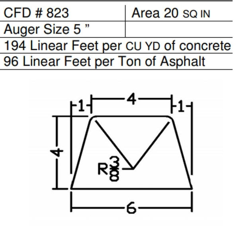 "CFD # 823 Miller Curber Std Form for Curbers Equipped with w/5"" Auger"