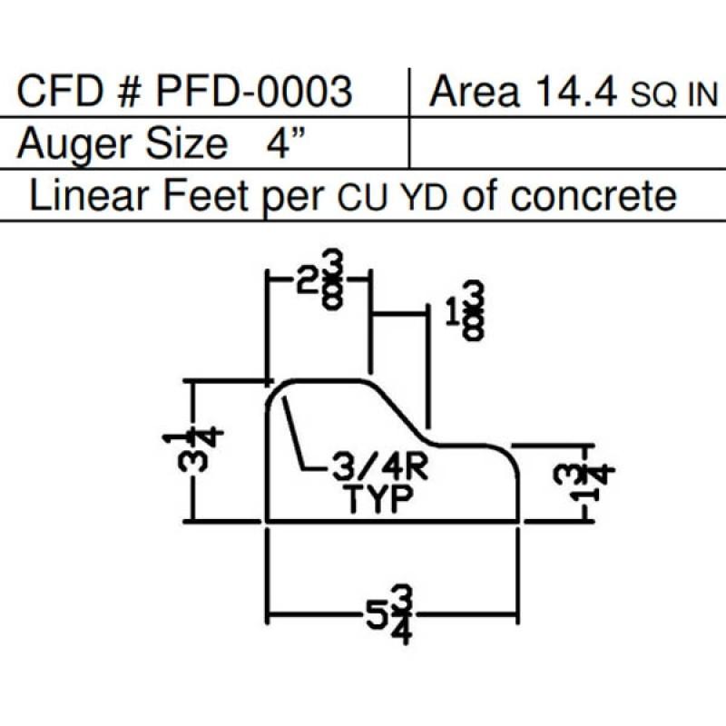 """PFD-0003 Miller Curber MC350 Curbilder w/4"""" Auger Std Form"""